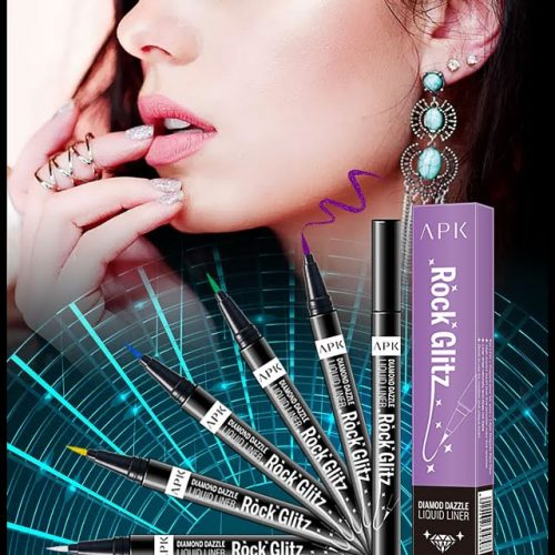 APK ROCK GLITZ Glitter Marker Liner Available in Five Shades Are you looking for APK ROCK GLITZ Glitter Marker Liner ? DIAMOD DAZZLE LIQUID LINER Net: 0.85g APK ROCK GLITZ Glitter Marker Liner Available in Five Shades BLUE Glam SILVERY Glam VIOLET Glam GREEN Glam GOLDEN Glam It has liquid texture.