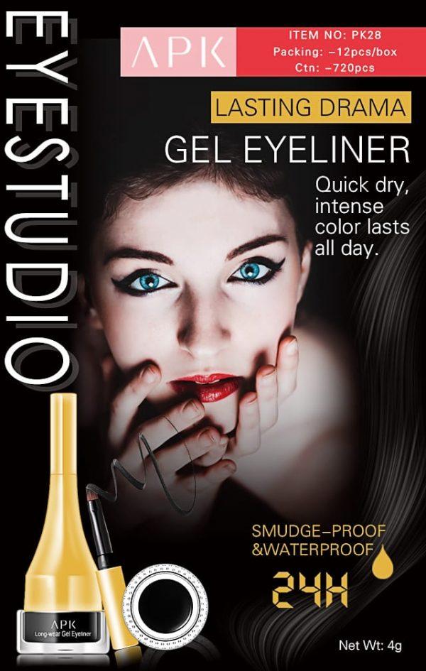 APK 24H Black Gel Eyeliner long lasting drama